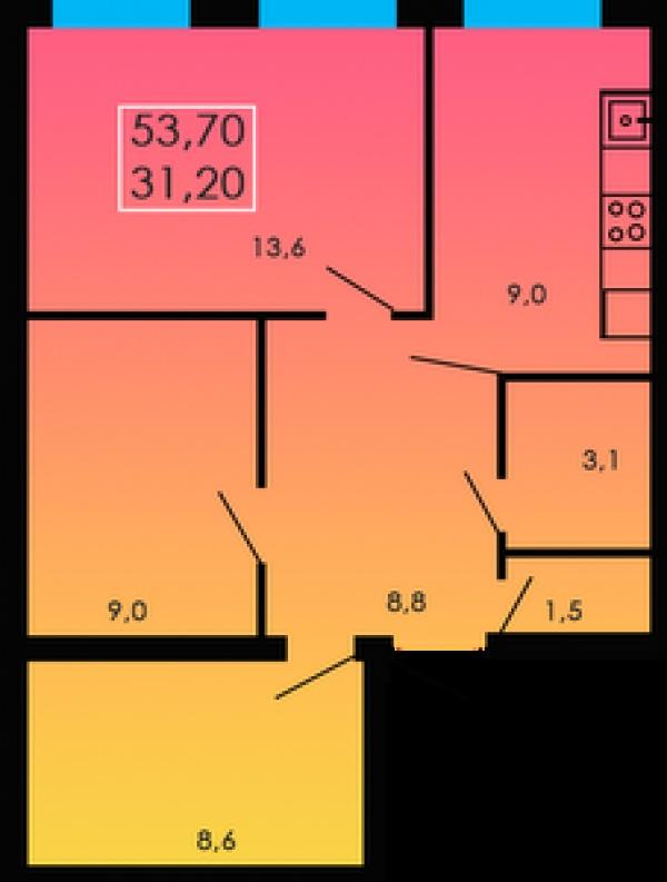 Планировки двухкомнатных квартир 53.7 м^2